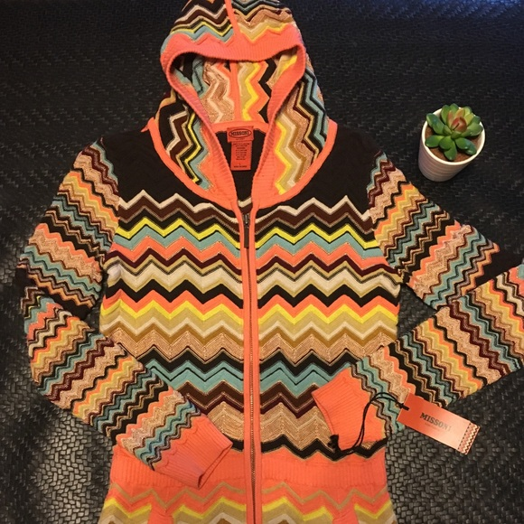 Missoni for Target Girls Knit Hoodie Sweater Jacket w pockets Orange Chevron